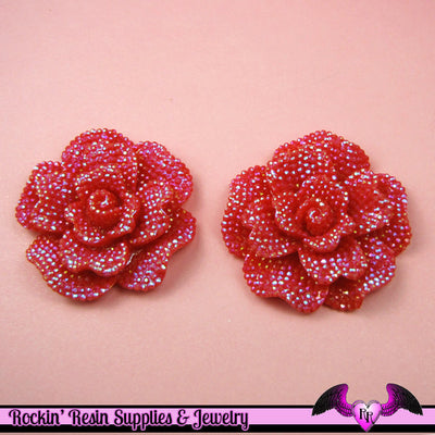 2 pcs Faux RHINESTONE AB RED Rose 45mm Decoden Flatback Resin Flower Cabochons - Rockin Resin  - 1
