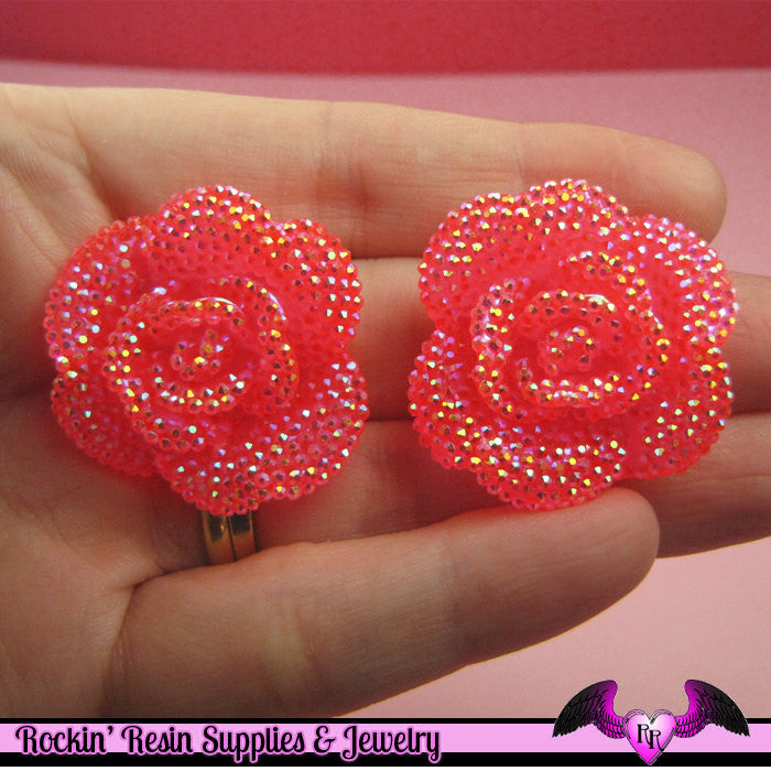 3 pcs Faux RHINESTONE AB Jelly Hot Pink 34mm Resin Flower Cabochons