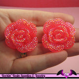 3 pcs Faux RHINESTONE AB Jelly Hot Pink 34mm Resin Flower Cabochons - Rockin Resin
