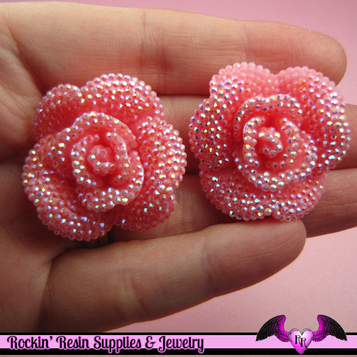 3 pcs Faux RHINESTONE AB Light Pink 34mm Resin Flower Cabochons