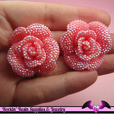 3 pcs Faux RHINESTONE AB Light Pink 34mm Resin Flower Cabochons - Rockin Resin  - 1