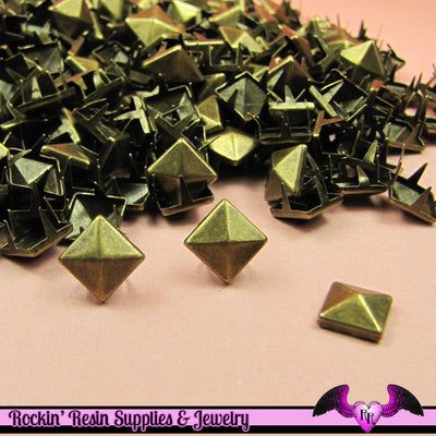 50pc 8mm ANTIQUE BRONZE Pyramid Studs / Steampunk Rivets - Rockin Resin  - 1