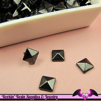 50pc 8mm BLACK NICKEL Pyramid Studs / Steampunk Rivets - Rockin Resin  - 1