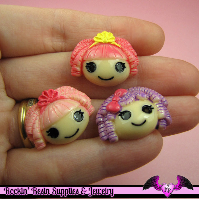 4 pcs Girly Cartoon Girls Resin Decoden Flatback Kawaii Cabochons 25x18mm - Rockin Resin