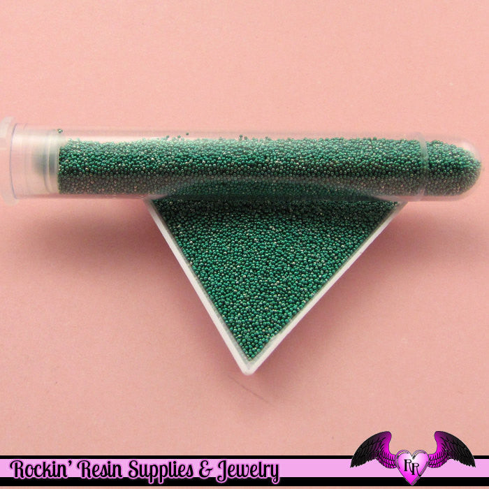 Micro Marbles LIGHT TEAL GREEN  Half Ounce / 14 grams metallic caviar microbead miniature kawaii fake sprinkles