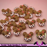 4 pcs MOUSE HEAD DOUGHNUT Sweets Kawaii Resin Decoden Flatback Cabochon 23x25mm - Rockin Resin  - 2