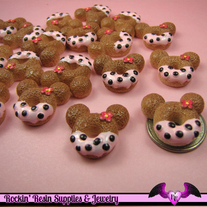 4 pcs MOUSE HEAD DOUGHNUT Sweets Kawaii Resin Decoden Flatback Cabochon 23x25mm - Rockin Resin  - 1