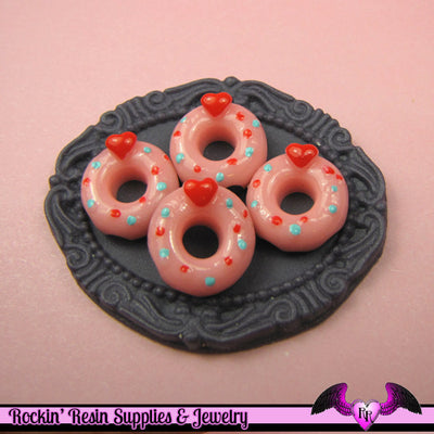5 pcs HEART PINK Love DOUGHNUT Sweets Kawaii Resin Decoden Flatback Cabochon 15mm - Rockin Resin  - 1