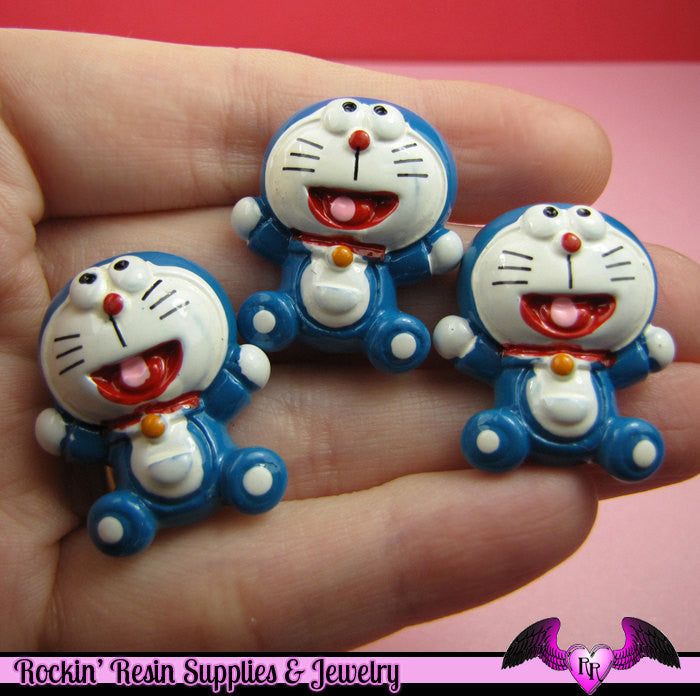 4 pcs Anime Cartoon Character Kawaii Resin Decoden Flatback Cabochon 28x23mm