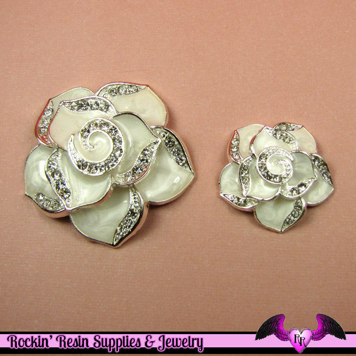 2 pc White Enamel and Crystals Roses Decoden Cellphone Cabochon Decoration