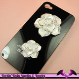 2 pc White Enamel and Crystals Roses Decoden Cellphone Cabochon Decoration - Rockin Resin  - 2
