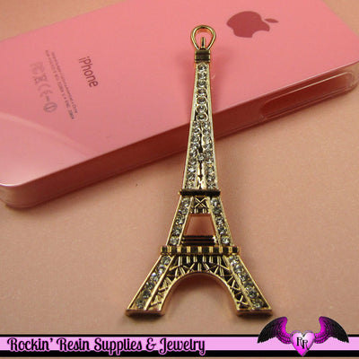 2pc EIFFEL TOWER Paris Crystal Covered Gold Alloy Decoden Cabochon Cellphone Decoration - Rockin Resin  - 1