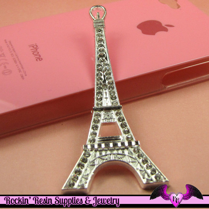2pc EIFFEL TOWER Paris Crystal Covered Silver Alloy Decoden Cabochon Cellphone Decoration - Rockin Resin  - 1