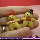 6 pc GINGERBREAD MAN and WOMAN Decoden Flatback Kawaii Cabochons - Rockin Resin