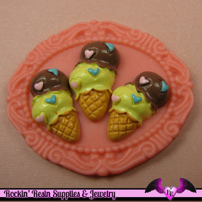 6 pc ICE CREAM CONE Sundae Sweets Decoden Flatback Kawaii Cabochons - Rockin Resin