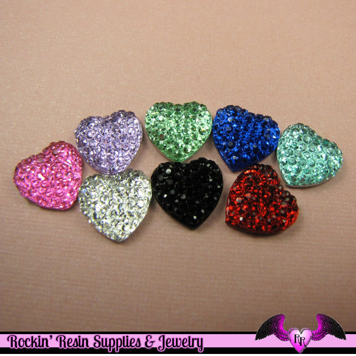 20 pcs Sparkly Fake Rhinestone Hearts 12mm Resin Flatback Decoden Kawaii Cabochons