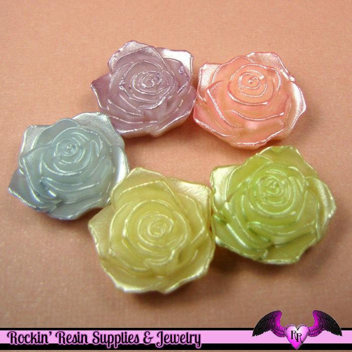 12 pcs Pearlized ROSE FLOWER Cabochons Decoden Kawaii Flatback Cabochon 18mm