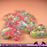 4 pc PEARL HEART Resin Decoden Flatback Kawaii Cabochons 29x22mm - Rockin Resin  - 2
