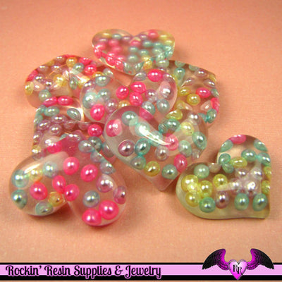 4 pc PEARL HEART Resin Decoden Flatback Kawaii Cabochons 29x22mm - Rockin Resin  - 1