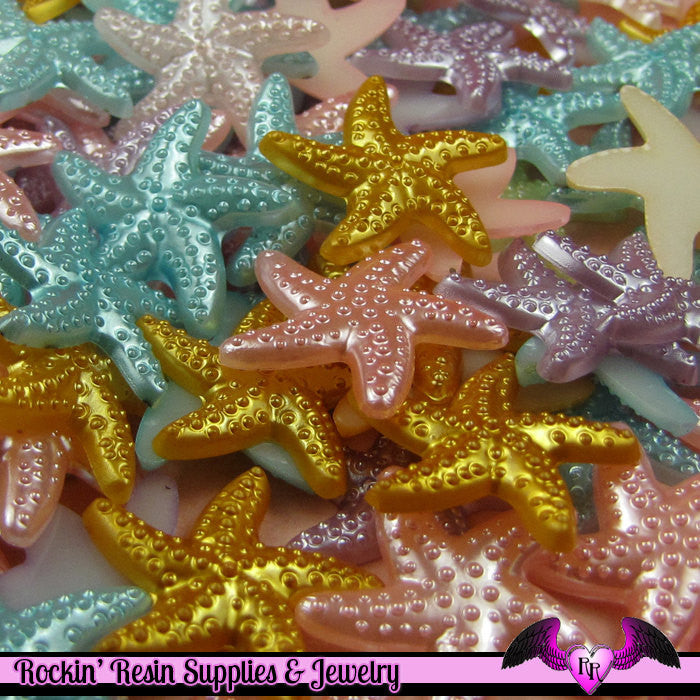 20 pcs Pearlized STARFISH Nautical Kawaii Decoden Flatback Cabochon 19mm