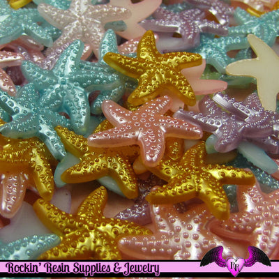 20 pcs Pearlized STARFISH Nautical Kawaii Decoden Flatback Cabochon 19mm - Rockin Resin  - 1