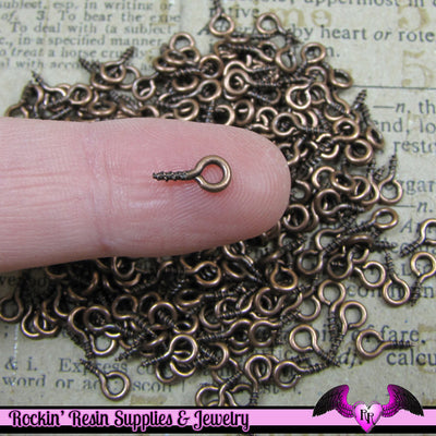 100 pcs Antique Copper Screw Eyes 8mm x 4mm - Rockin Resin  - 1