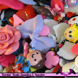 1 Pound Seconds GRAB BaG of Resin Decoden Flatback Kawaii Cabochons and Cameos - Rockin Resin  - 3