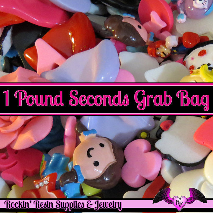 1 Pound Seconds GRAB BaG of Resin Decoden Flatback Kawaii Cabochons and Cameos - Rockin Resin  - 1