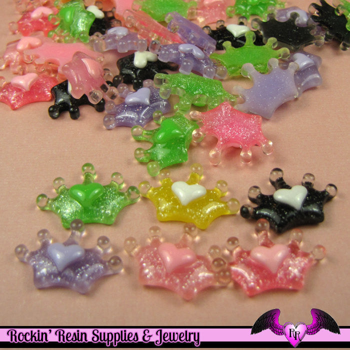 6 pcs GLITTER CROWN with HEART Resin Decoden Flatback Kawaii Cabochons 21x14mm - Rockin Resin