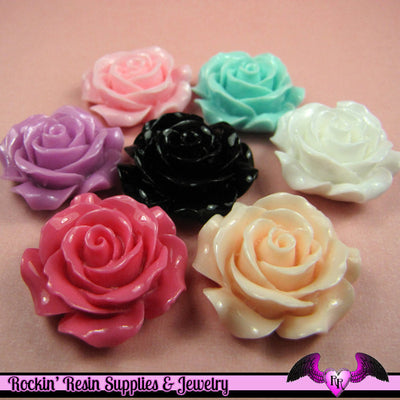 30mm ROSES Decoden Flatback Resin Flower Cabochons (5 pieces) - Rockin Resin  - 1