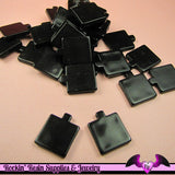 14 pcs PENDANT BLANKS Small Base Black Resin Square Decoden Pendant Blanks - Rockin Resin  - 2