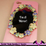 Pink and Purple FLOWER MIRROR with Crystals Decoden Cabochon Cellphone Decoration - Rockin Resin  - 1