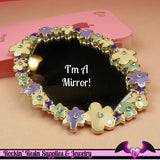 Pink and Purple FLOWER MIRROR with Crystals Decoden Cabochon Cellphone Decoration - Rockin Resin  - 2