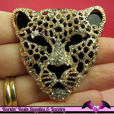 CHEETAH Animal Head Gold and Black with Crystals Decoden Cellphone Cabochon Decoration - Rockin Resin  - 1