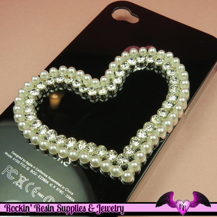 PEARL and CRYSTAL HEART FraME Alloy Large Decoden Cellphone Cabochon Decoration