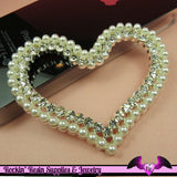 PEARL and CRYSTAL HEART FraME Alloy Large Decoden Cellphone Cabochon Decoration - Rockin Resin  - 2