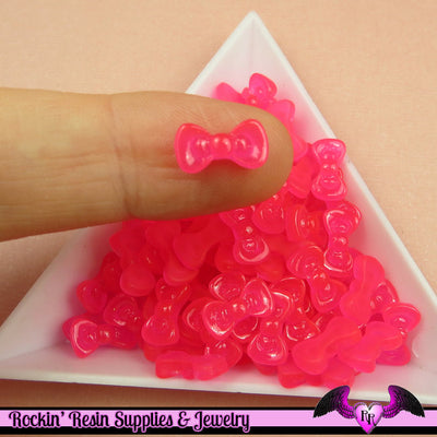 10 pcs HOT PINK Jelly BOW Cabochon Tiny Nail Art Resin Flatback Nail Cabochons - Rockin Resin  - 1