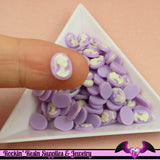 10 pcs Tiny VICTORIAN LADY CAMEO in Light Purple Nail Art Resin Flatback Cabochon 8x6mm - Rockin Resin  - 2