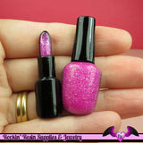 LIPSTICK and NAIL POLISH Make-up Flatback Resin Decoden Kawaii Cabochons in Glitter Pink(4 pieces) - Rockin Resin  - 1