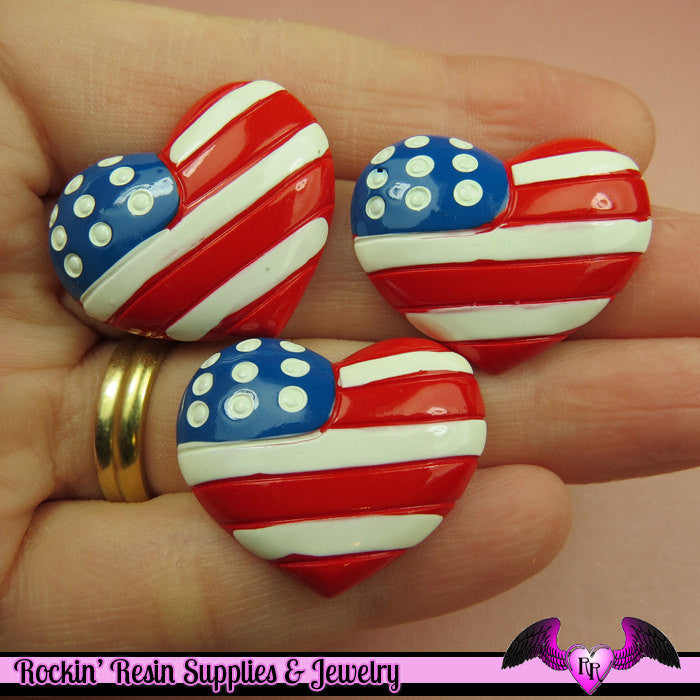 USA American Flag Heart Flatback Decoden Resin Cabochons (4 pieces) - Rockin Resin  - 1