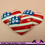 USA American Flag Heart Flatback Decoden Resin Cabochons (4 pieces) - Rockin Resin  - 2