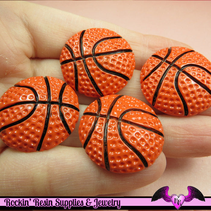 4 Pcs BASKETBALL Sports Resin Flatback Decoden Cabochons 27mm