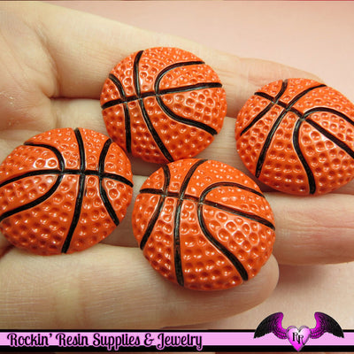 4 Pcs BASKETBALL Sports Resin Flatback Decoden Cabochons 27mm - Rockin Resin