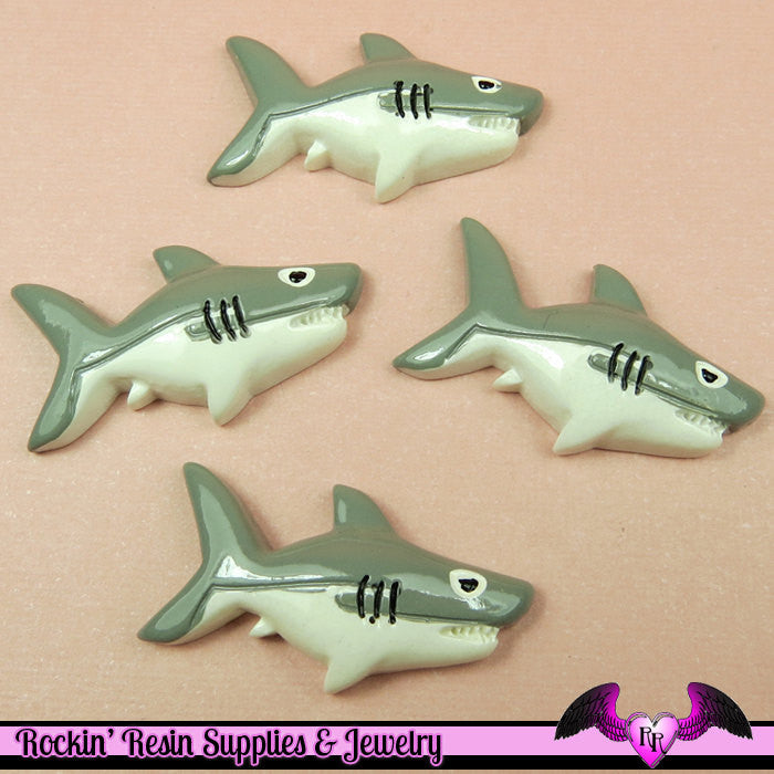 4 pcs SHARKS Decoden Flatback Kawaii Resin Cabochons 34x18mm - Rockin Resin  - 1