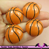 4 Pcs BASKETBALL Sports Resin Flatback Decoden Cabochons 25mm - Rockin Resin