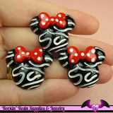 4 pcs Swirly MOUSE HEAD with Red Bow Resin Decoden Flatback Kawaii Cabochon 28x24mm - Rockin Resin