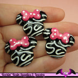 4 pcs Swirly MOUSE HEAD with Pink Bow Resin Decoden Flatback Kawaii Cabochon 28x24mm - Rockin Resin