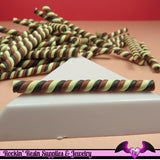 5 pc CHOCOLATE MARSHMALLOW or Taffy Twist Sticks Fimo Decoden Candy Clay Canes - Rockin Resin  - 2