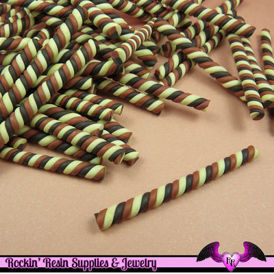 5 pc CHOCOLATE MARSHMALLOW or Taffy Twist Sticks Fimo Decoden Candy Clay Canes - Rockin Resin  - 1