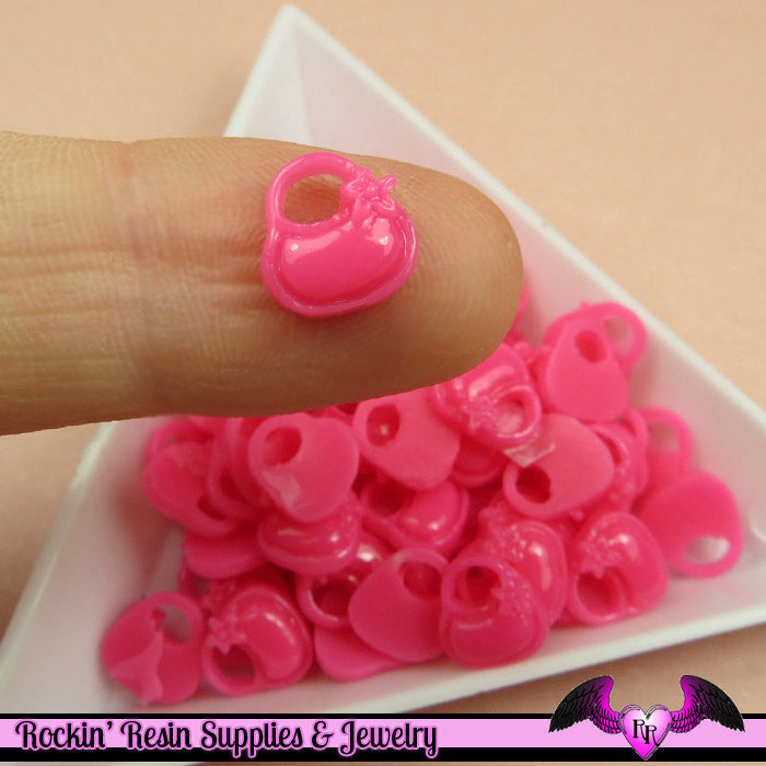 Hot Pink PURSE Handbag Nail Cabochon Tiny Girly Resin Flatback Nail Art Cabochons (10 pieces)